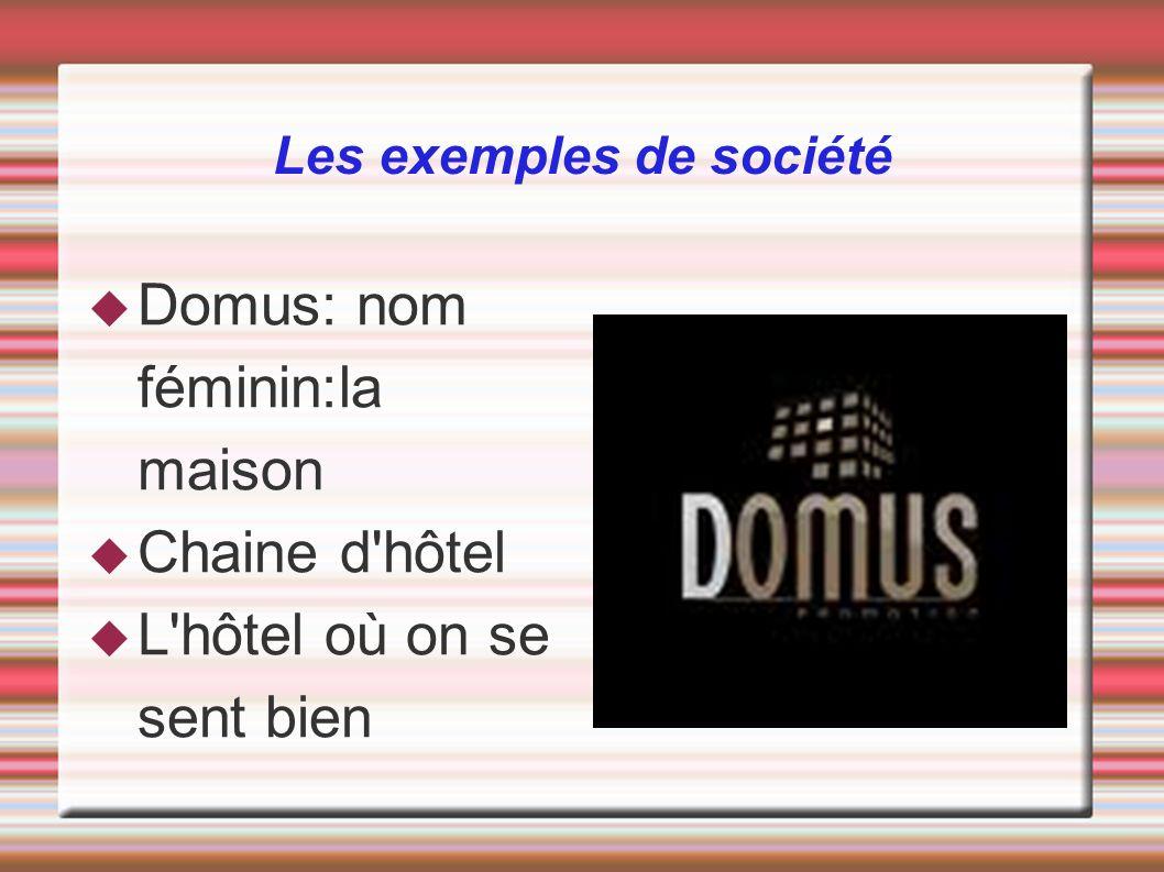 Les exemples de société Domus: nom féminin:la maison Chaine d'hôtel L'hôtel où on se sent bien