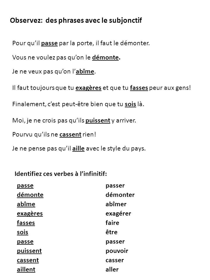 -ons -ent INFINITIF -er (parler) -ir (finir) -re (attendre) PRÉSENT -er +e, +es, +e, +ons, +ez, +ent -ir +is, +is, +it, +issons, +issez, +issent -re +s, +s, +(t),+ons, +ez, +ent LA CONJUGAISON DES VERBES RÉGULIERS SUBJONCTIF +ions, +iez +e, +es, +e, +ent Pratiquez: 1.