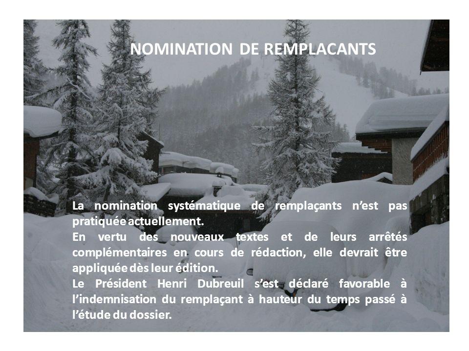 NOMINATION DE REMPLACANTS La nomination systématique de remplaçants nest pas pratiquée actuellement.