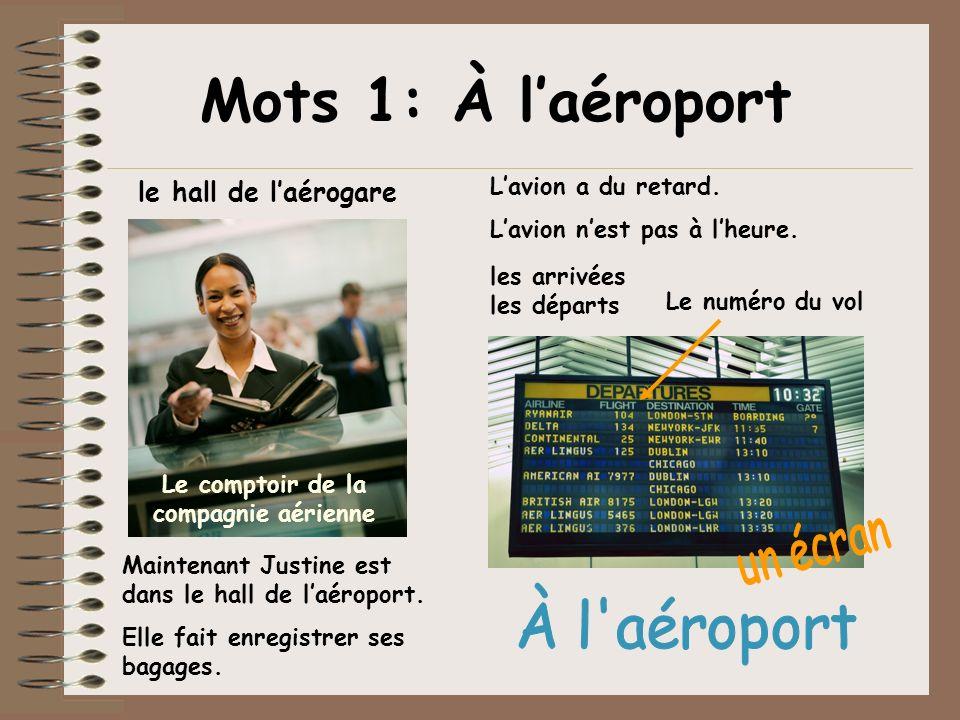 passer par le contrôle de sécurité la porte dembarquement Lavion atterrit Lavion décollela piste le départ un agent Lagent vérifie son billet Mots 1: À laéroport