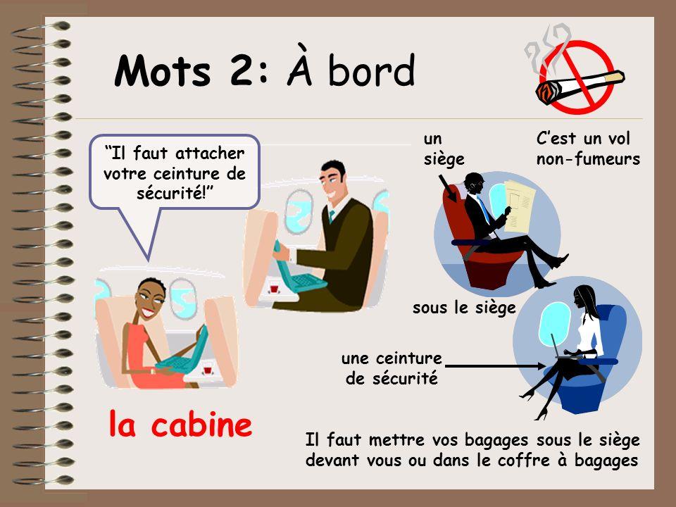 Cest un vol non-fumeurs un siège la cabine sous le siège une ceinture de sécurité Il faut mettre vos bagages sous le siège devant vous ou dans le coff