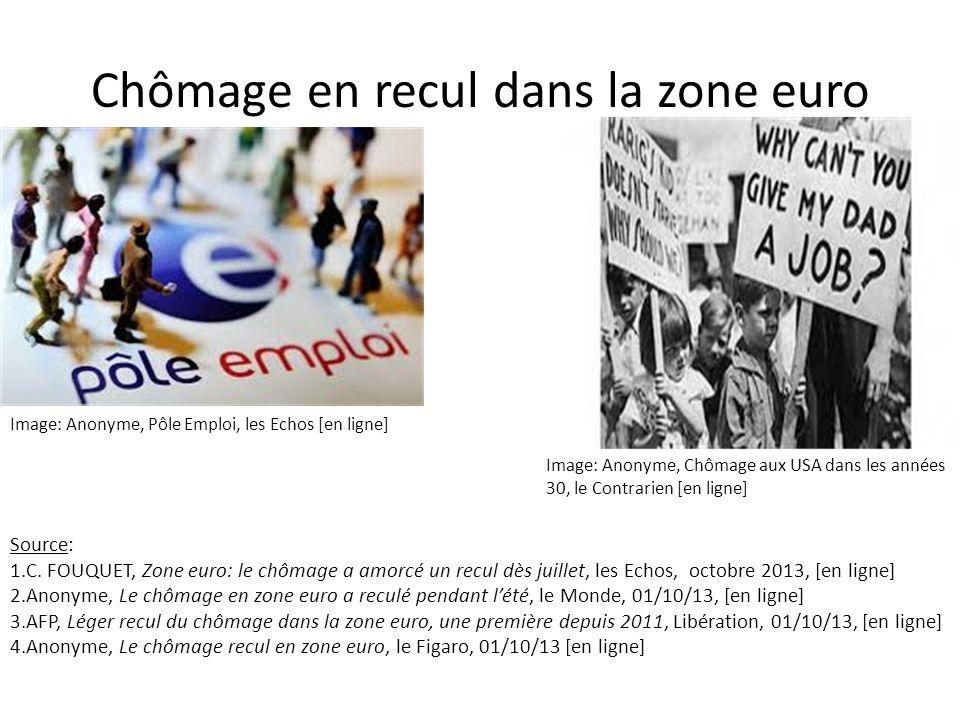 Chômage en recul dans la zone euro Image: Anonyme, Pôle Emploi, les Echos [en ligne] Image: Anonyme, Chômage aux USA dans les années 30, le Contrarien [en ligne] Source: 1.C.