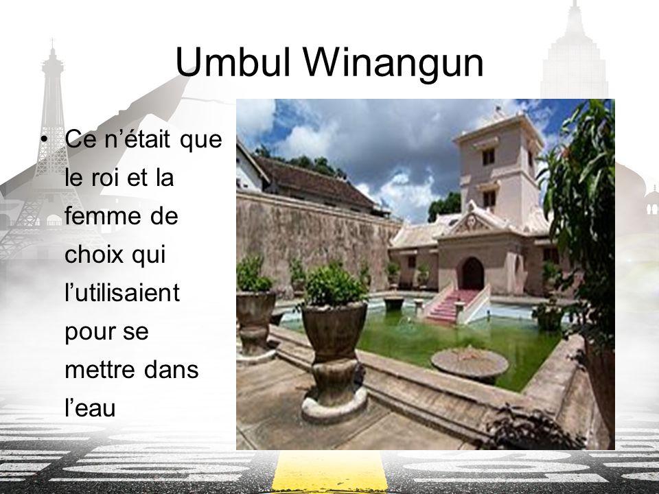 Umbul Winangun Ce nétait que le roi et la femme de choix qui lutilisaient pour se mettre dans leau