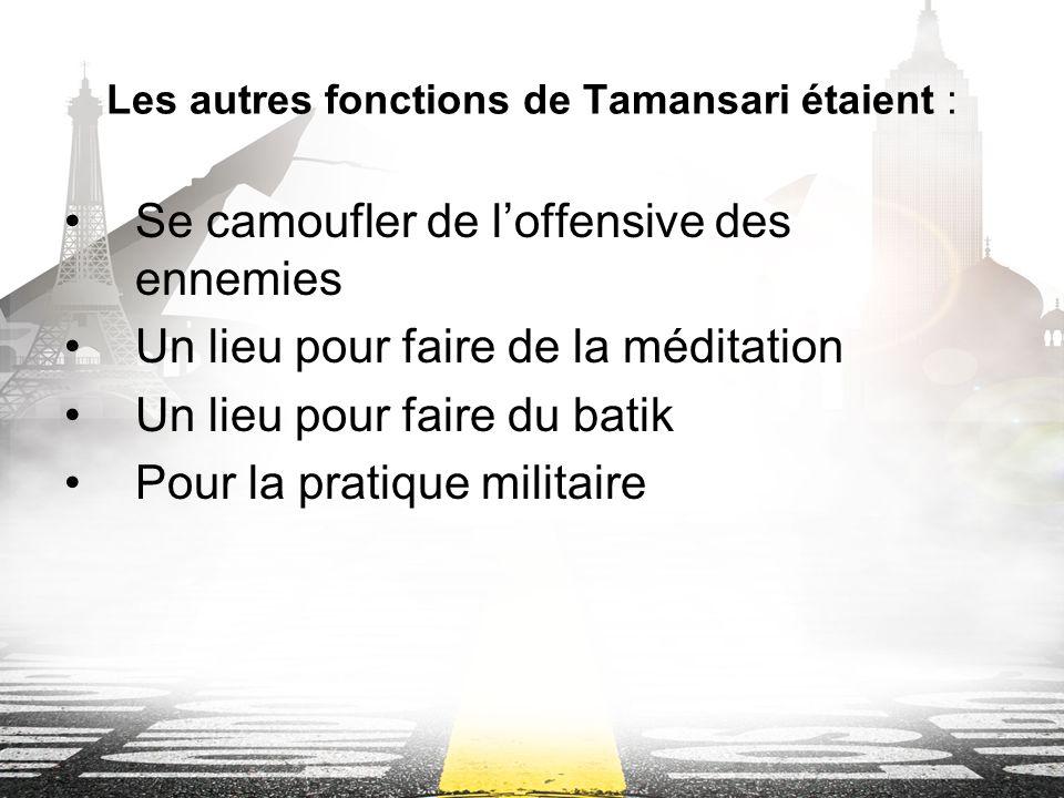 Les autres fonctions de Tamansari étaient : Se camoufler de loffensive des ennemies Un lieu pour faire de la méditation Un lieu pour faire du batik Pour la pratique militaire