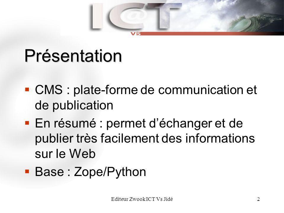 Editeur Zwook ICT Vs Jidé2 Présentation CMS : plate-forme de communication et de publication En résumé : permet déchanger et de publier très facilemen