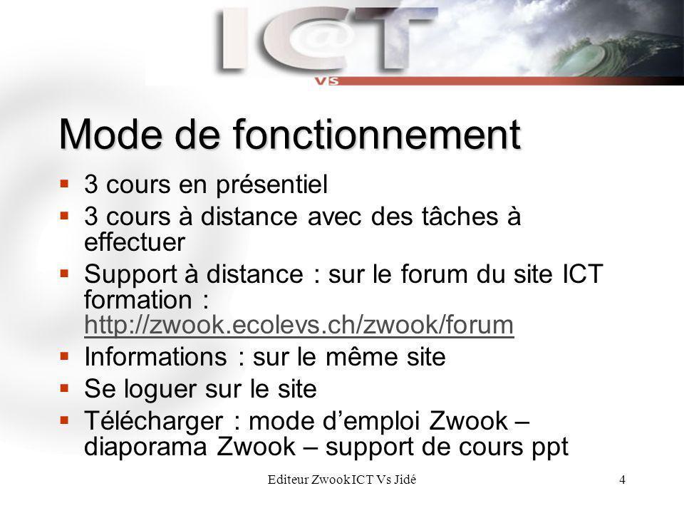 Editeur Zwook ICT Vs Jidé4 Mode de fonctionnement 3 cours en présentiel 3 cours à distance avec des tâches à effectuer Support à distance : sur le for