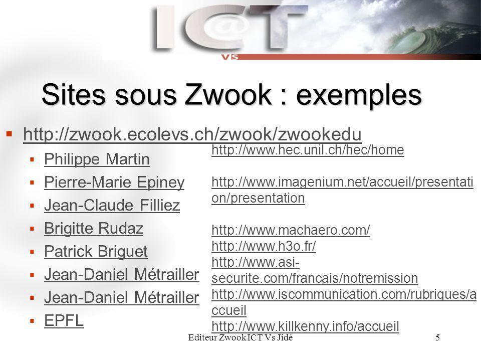 Editeur Zwook ICT Vs Jidé5 Sites sous Zwook : exemples http://zwook.ecolevs.ch/zwook/zwookedu Philippe Martin Pierre-Marie Epiney Jean-Claude Filliez