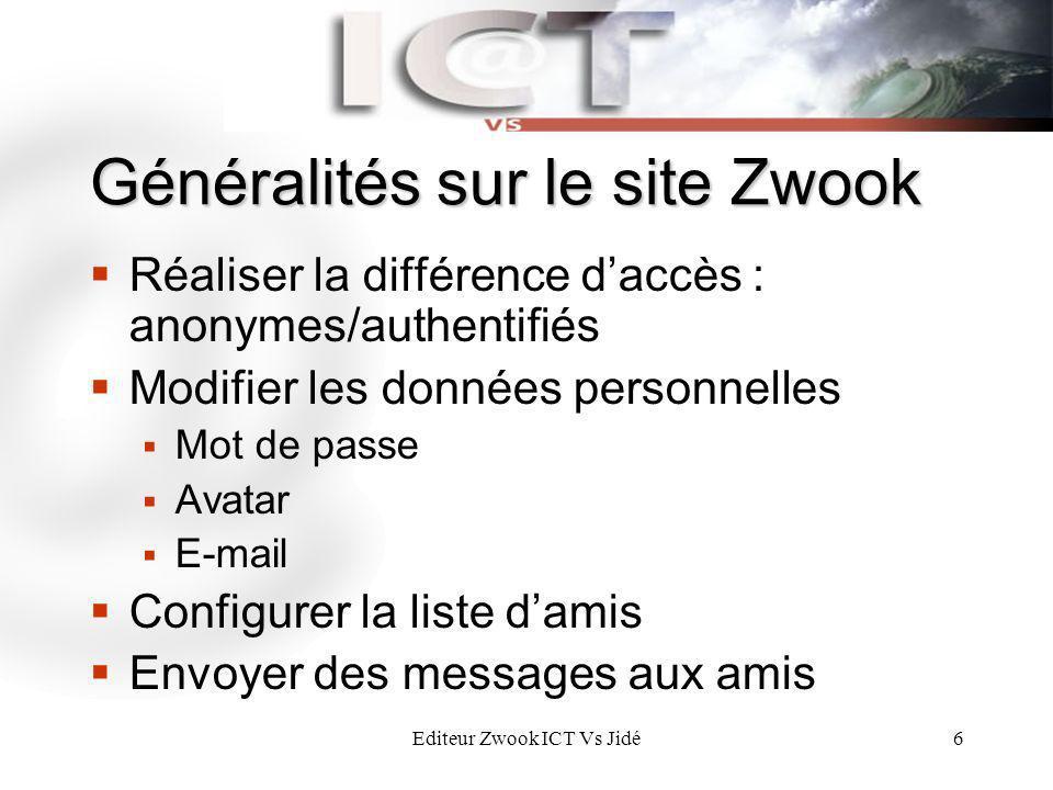 Editeur Zwook ICT Vs Jidé6 Généralités sur le site Zwook Réaliser la différence daccès : anonymes/authentifiés Modifier les données personnelles Mot d
