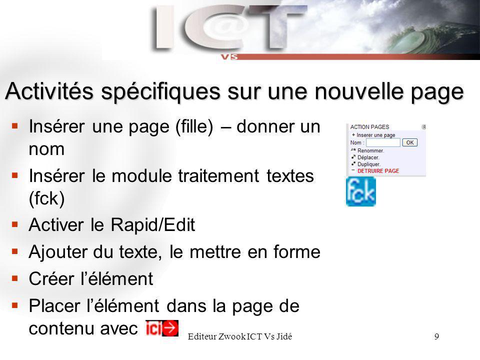 Editeur Zwook ICT Vs Jidé9 Activités spécifiques sur une nouvelle page Insérer une page (fille) – donner un nom Insérer le module traitement textes (f
