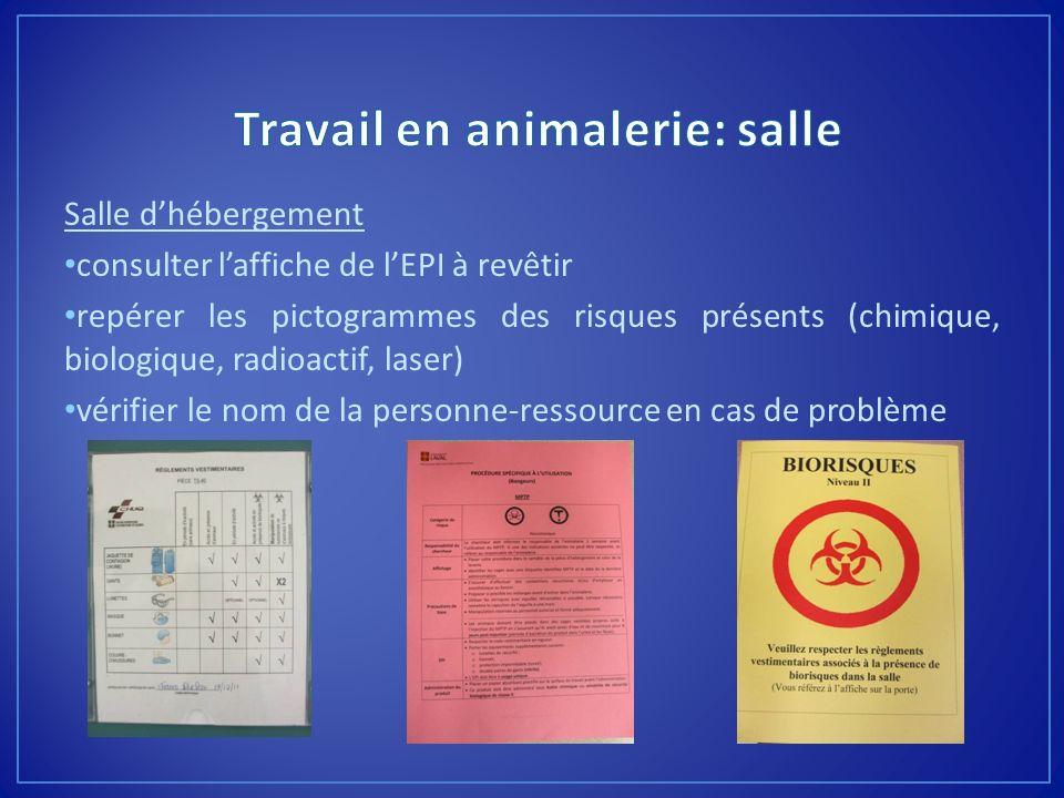 Salle dhébergement consulter laffiche de lEPI à revêtir repérer les pictogrammes des risques présents (chimique, biologique, radioactif, laser) vérifi