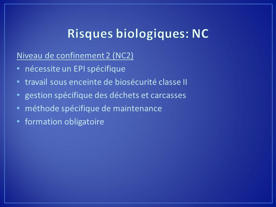 Niveau de confinement 2 (NC2) nécessite un EPI spécifique travail sous enceinte de biosécurité classe II gestion spécifique des déchets et carcasses m