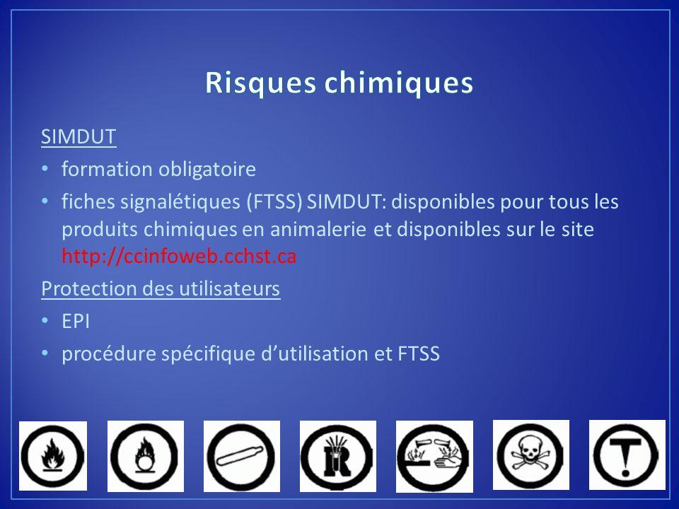SIMDUT formation obligatoire fiches signalétiques (FTSS) SIMDUT: disponibles pour tous les produits chimiques en animalerie et disponibles sur le site