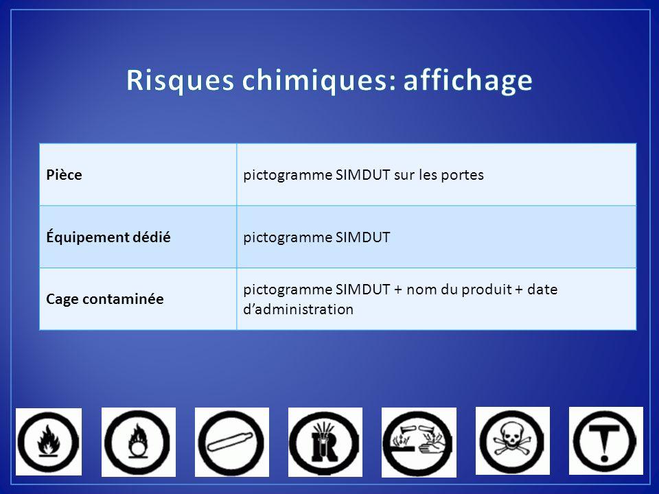 Piècepictogramme SIMDUT sur les portes Équipement dédiépictogramme SIMDUT Cage contaminée pictogramme SIMDUT + nom du produit + date dadministration