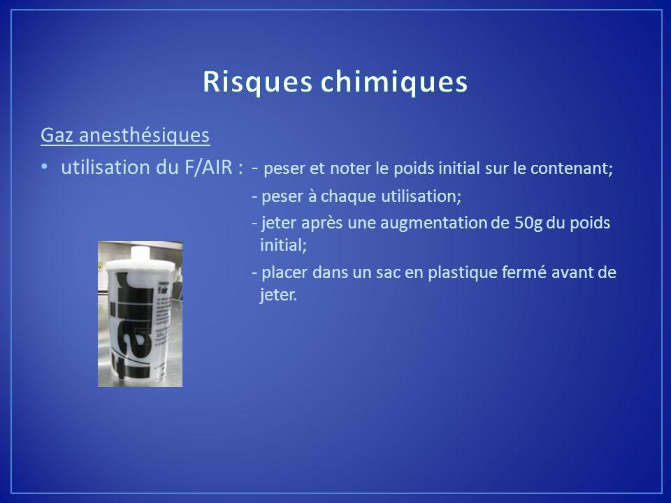 Gaz anesthésiques utilisation du F/AIR :- peser et noter le poids initial sur le contenant; - peser à chaque utilisation; - jeter après une augmentati