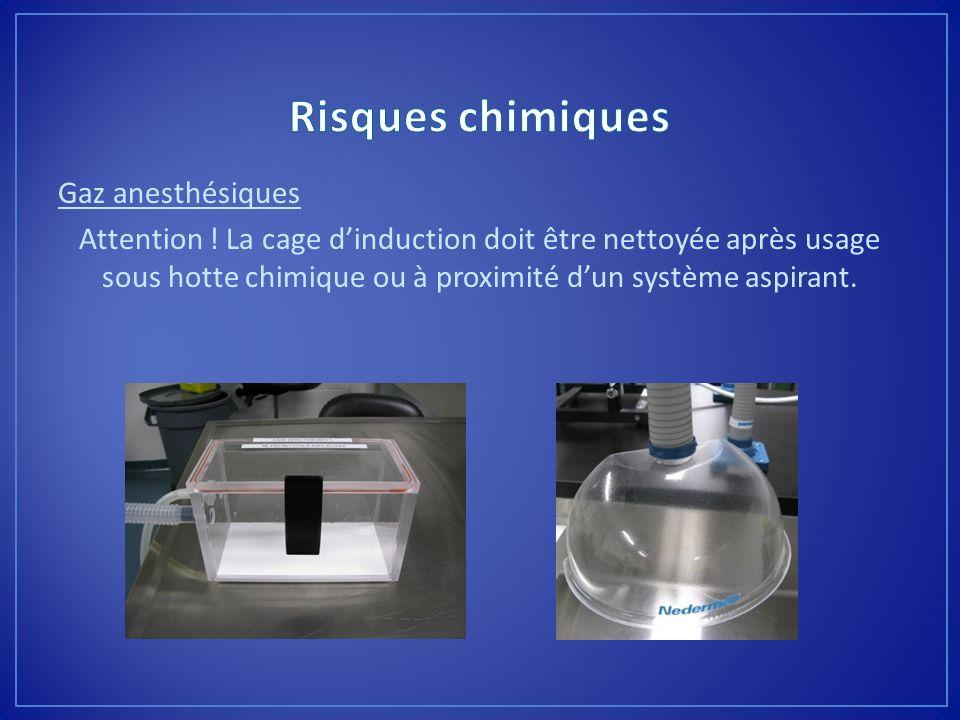 Gaz anesthésiques Attention ! La cage dinduction doit être nettoyée après usage sous hotte chimique ou à proximité dun système aspirant.
