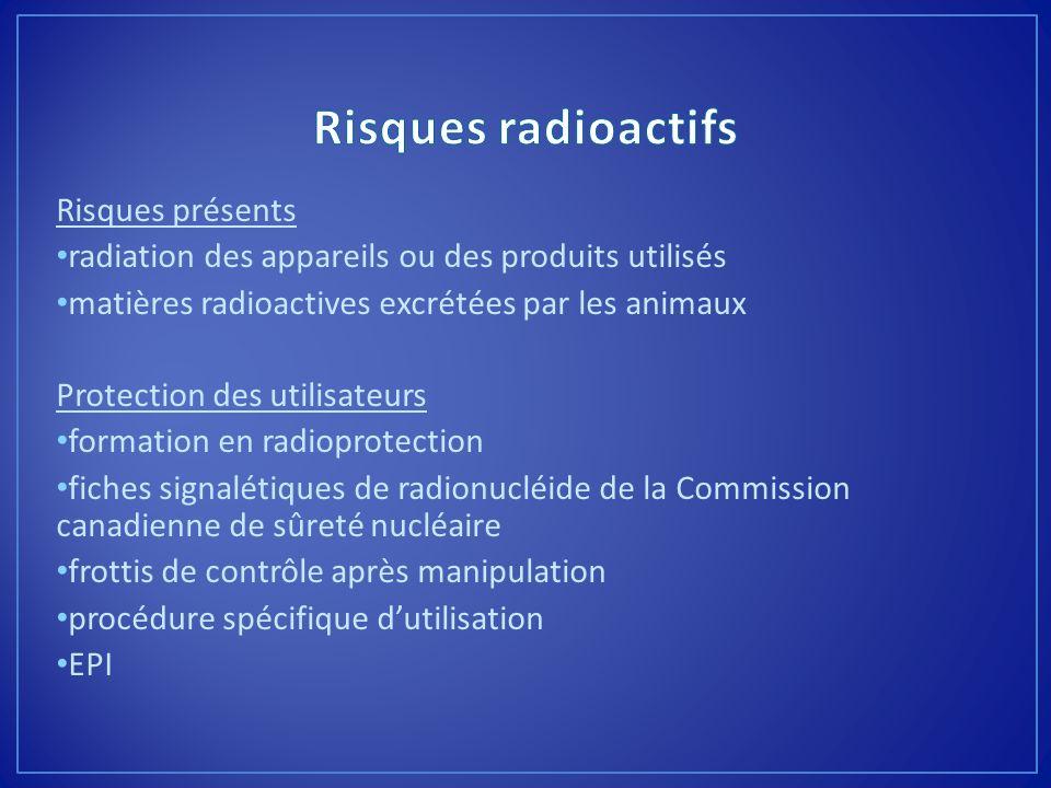 Risques présents radiation des appareils ou des produits utilisés matières radioactives excrétées par les animaux Protection des utilisateurs formatio