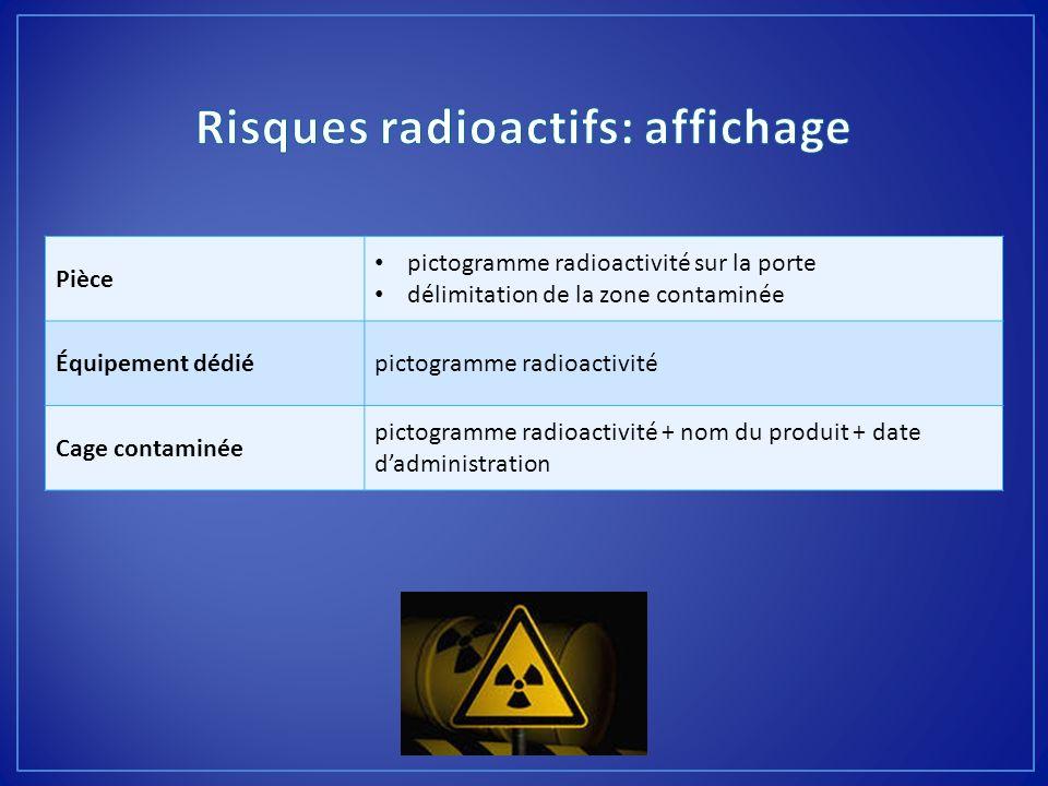 Pièce pictogramme radioactivité sur la porte délimitation de la zone contaminée Équipement dédiépictogramme radioactivité Cage contaminée pictogramme