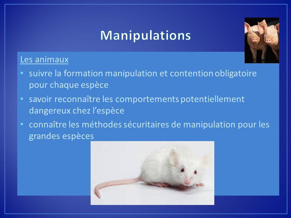 Les animaux suivre la formation manipulation et contention obligatoire pour chaque espèce savoir reconnaître les comportements potentiellement dangere