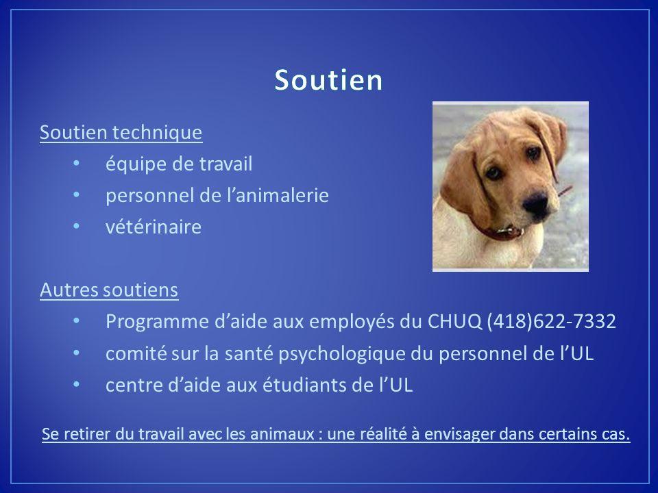 Soutien technique équipe de travail personnel de lanimalerie vétérinaire Autres soutiens Programme daide aux employés du CHUQ (418)622-7332 comité sur