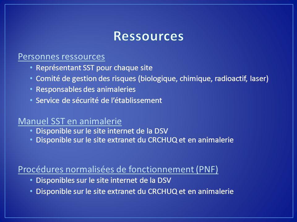 Personnes ressources Représentant SST pour chaque site Comité de gestion des risques (biologique, chimique, radioactif, laser) Responsables des animal