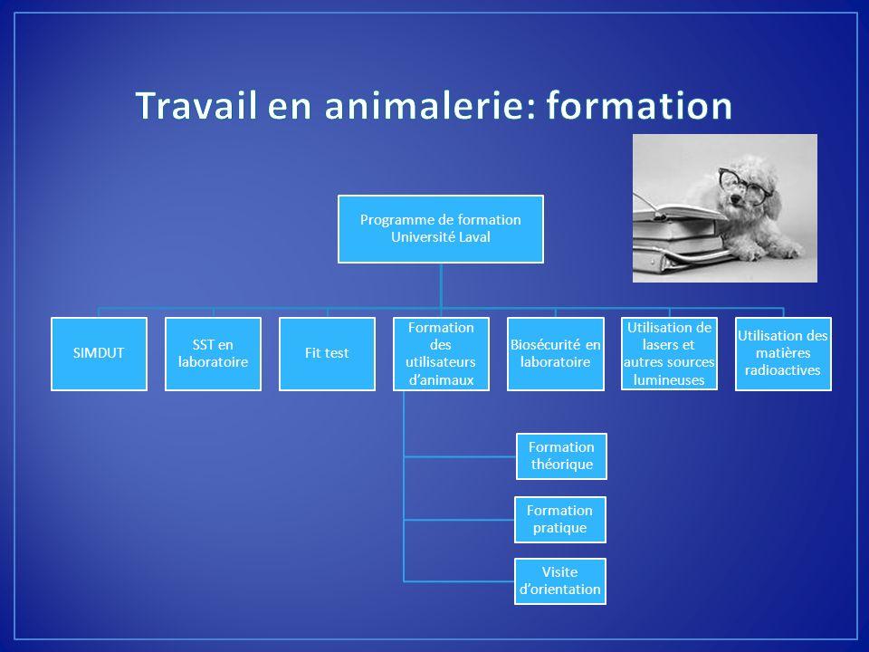 Programme de formation Université Laval SIMDUT SST en laboratoire Fit test Formation des utilisateurs danimaux Formation théorique Formation pratique