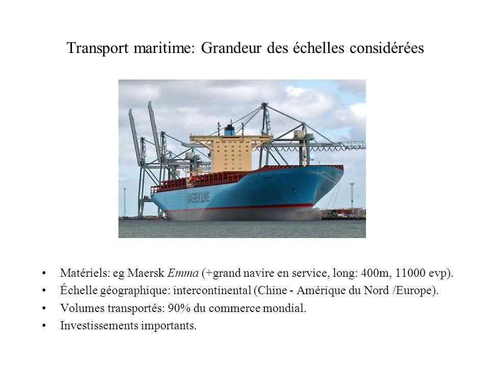 Transport maritime: Grandeur des échelles considérées Matériels: eg Maersk Emma (+grand navire en service, long: 400m, 11000 evp). Échelle géographiqu