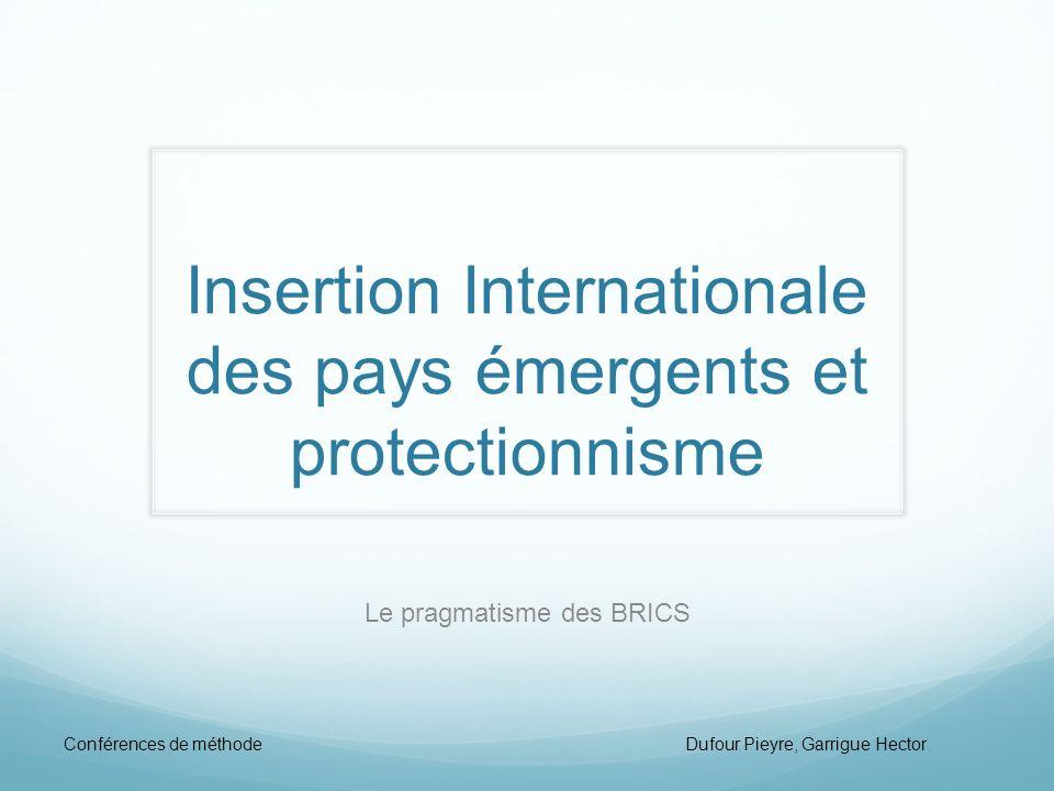 Insertion Internationale des pays émergents et protectionnisme Le pragmatisme des BRICS Conférences de méthode Dufour Pieyre, Garrigue Hector