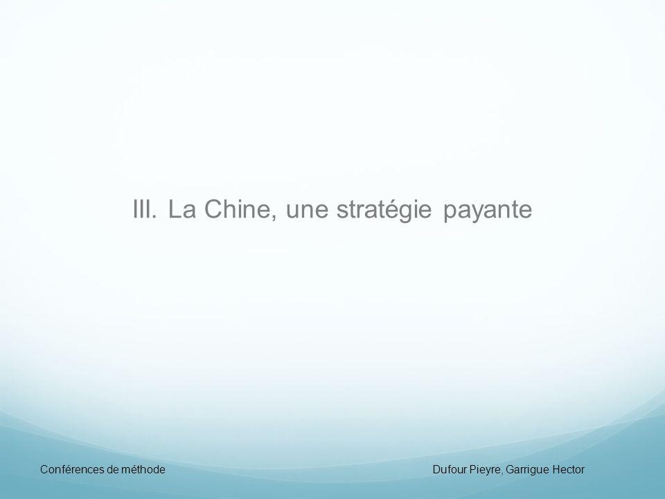 III. La Chine, une stratégie payante Conférences de méthode Dufour Pieyre, Garrigue Hector