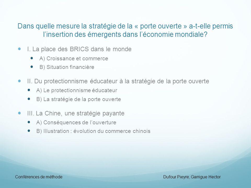Dans quelle mesure la stratégie de la « porte ouverte » a-t-elle permis linsertion des émergents dans léconomie mondiale? I. La place des BRICS dans l