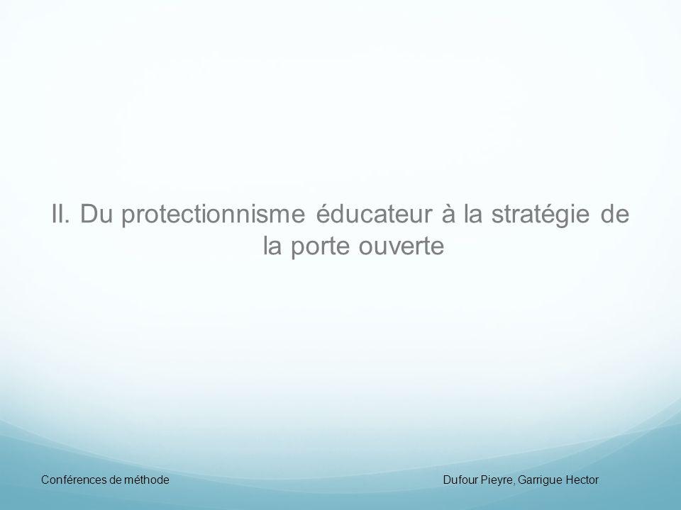 II. Du protectionnisme éducateur à la stratégie de la porte ouverte Conférences de méthode Dufour Pieyre, Garrigue Hector