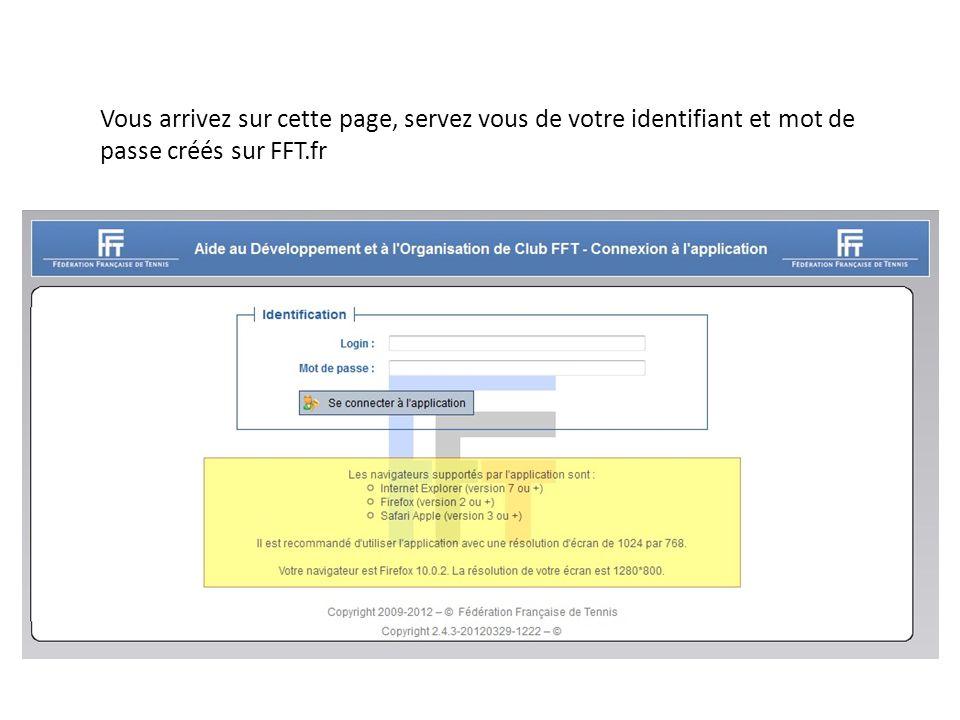 Vous arrivez sur cette page, servez vous de votre identifiant et mot de passe créés sur FFT.fr