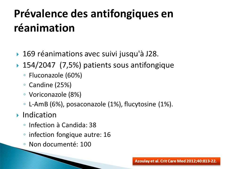 Etude retrospective de 24 cas en hématologie 6 prouvées/3probables/15 possibles Diagnostic: Examen direct positif: 4/13 (0 culture pos) Mannane(Ag/Ac) et B-D-glucane non réalisés Imagerie évocatrice: 62% Traitement: Fluco 38%, vori 17%, caspo 17%: moyenne de 7 mois CTCD: 58% Evolution: Absence de rechute à larret du TT: 58% Prédicteur de mortalité toute cause en multivariée Durée neutropénie et absence de remission Candidoses hépato spléniques De Castro et al.