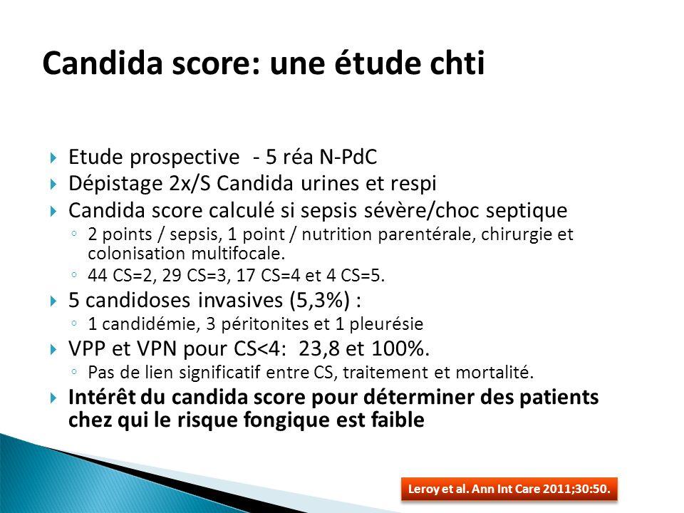 Etude prospective - 5 réa N-PdC Dépistage 2x/S Candida urines et respi Candida score calculé si sepsis sévère/choc septique 2 points / sepsis, 1 point / nutrition parentérale, chirurgie et colonisation multifocale.