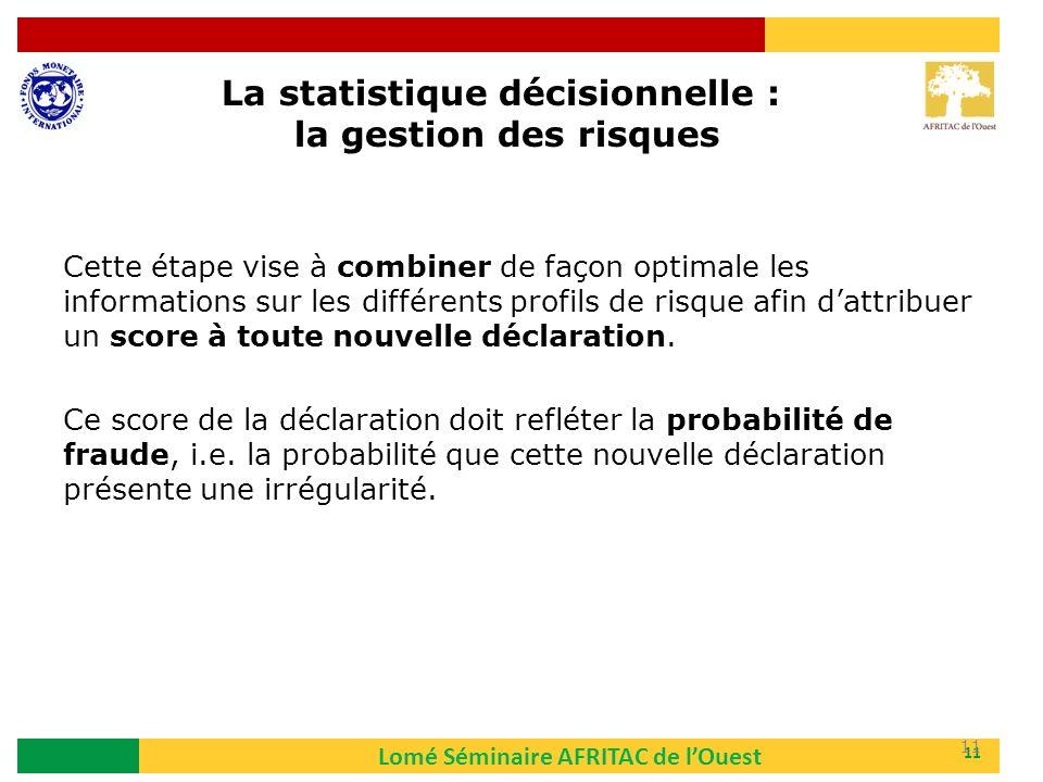 Lomé Séminaire AFRITAC de lOuest 11 Cette étape vise à combiner de façon optimale les informations sur les différents profils de risque afin dattribue