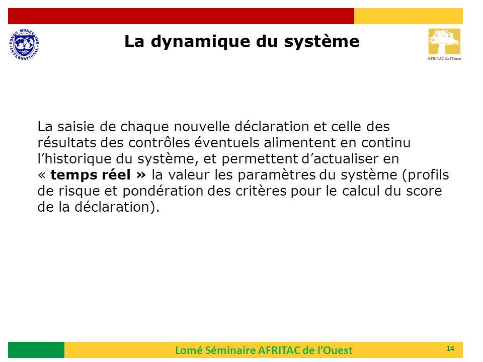 Lomé Séminaire AFRITAC de lOuest 14 La dynamique du système La saisie de chaque nouvelle déclaration et celle des résultats des contrôles éventuels al