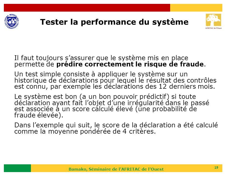 Bamako, Séminaire de l'AFRITAC de l'Ouest 19 Il faut toujours sassurer que le système mis en place permette de prédire correctement le risque de fraud