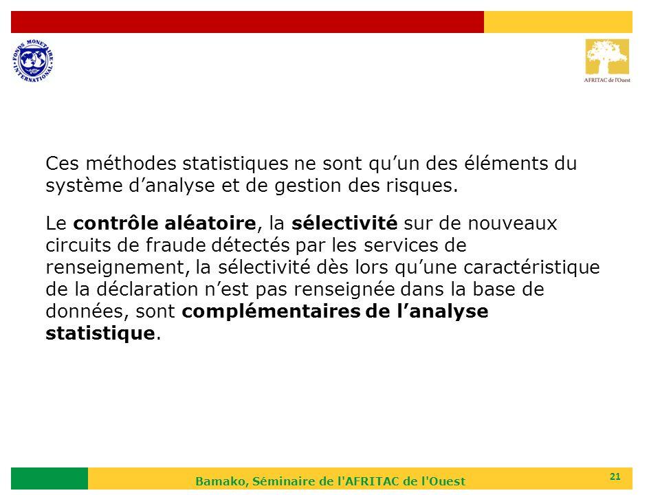 Bamako, Séminaire de l'AFRITAC de l'Ouest 21 Ces méthodes statistiques ne sont quun des éléments du système danalyse et de gestion des risques. Le con