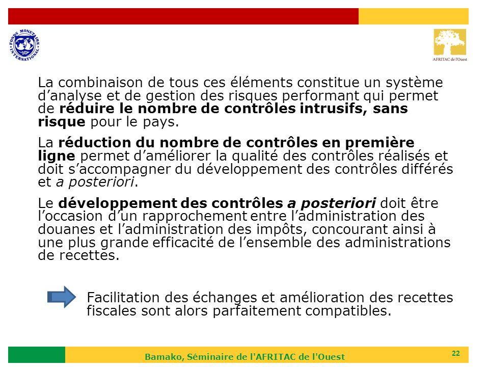 Bamako, Séminaire de l'AFRITAC de l'Ouest 22 La combinaison de tous ces éléments constitue un système danalyse et de gestion des risques performant qu