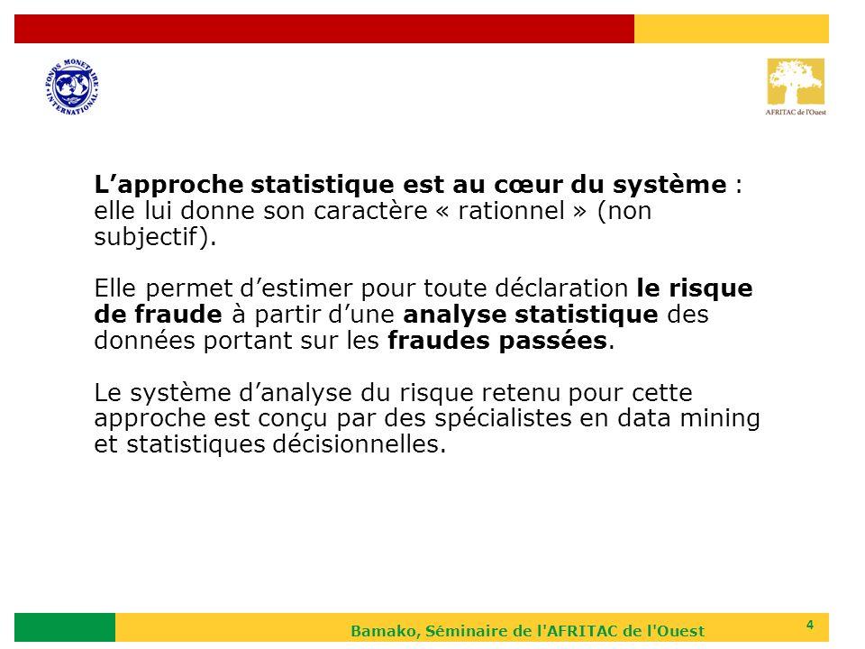 Bamako, Séminaire de l AFRITAC de l Ouest 5 Les deux étapes de lapproche statistique La statistique descriptive : lanalyse du résultat des contrôles réalisés au cours dune période donnée La statistique décisionnelle : lorientation des nouvelles déclarations vers un circuit de contrôle