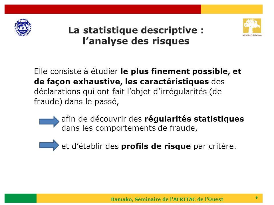 Bamako, Séminaire de l AFRITAC de l Ouest 17 Méthode économétrique (logiciel spécifique mais programmation possible dans application propre à la douane) Proba(fraude i =1)=constante+a.fq_critère1 i +b.fq_critère2 i +…+n.fq_critèreN i +ε a, b,….n : les pondérations des critères (coefficients des variables de léquation) pour le calcul du score (probabilité de fraude) de la déclaration « i ».
