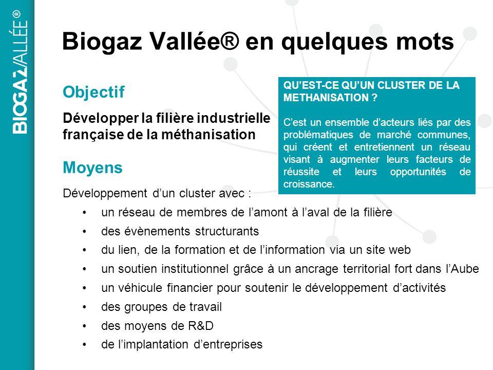 Biogaz Vallée® en quelques mots Objectif Développer la filière industrielle française de la méthanisation Moyens Développement dun cluster avec : un r