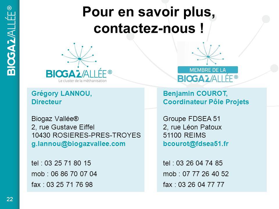 Pour en savoir plus, contactez-nous ! Grégory LANNOU, Directeur Biogaz Vallée® 2, rue Gustave Eiffel 10430 ROSIERES-PRES-TROYES g.lannou@biogazvallee.