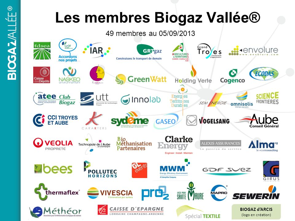 49 membres au 05/09/2013 Les membres Biogaz Vallée® BIOGAZ dARCIS (logo en création)