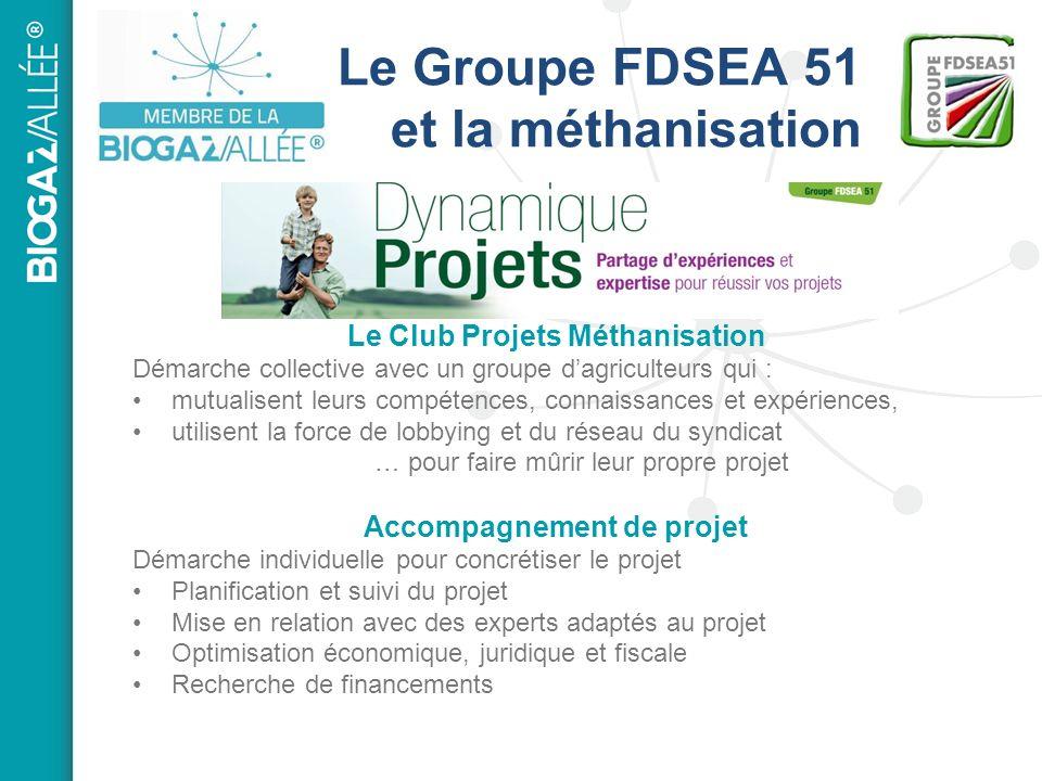 Le Groupe FDSEA 51 et la méthanisation Le Club Projets Méthanisation Démarche collective avec un groupe dagriculteurs qui : mutualisent leurs compéten