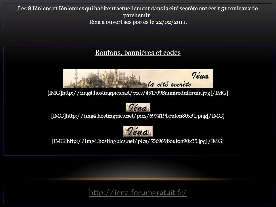 Les 8 Iéniens et Iéniennes qui habitent actuellement dans la cité secrète ont écrit 51 rouleaux de parchemin. Iéna a ouvert ses portes le 22/02/2011.