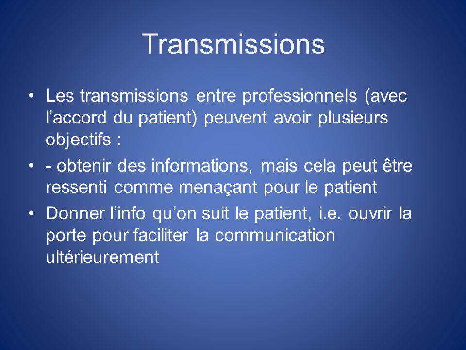 Transmissions Les transmissions entre professionnels (avec laccord du patient) peuvent avoir plusieurs objectifs : - obtenir des informations, mais cela peut être ressenti comme menaçant pour le patient Donner linfo quon suit le patient, i.e.