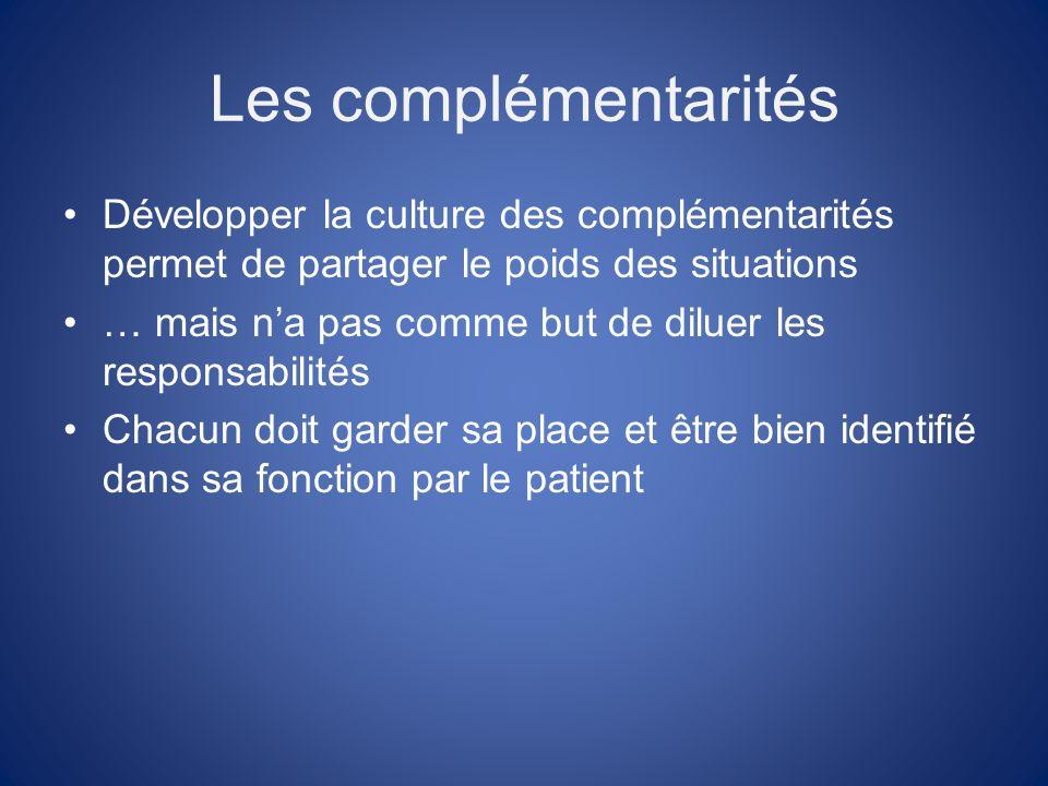 Les complémentarités Développer la culture des complémentarités permet de partager le poids des situations … mais na pas comme but de diluer les responsabilités Chacun doit garder sa place et être bien identifié dans sa fonction par le patient