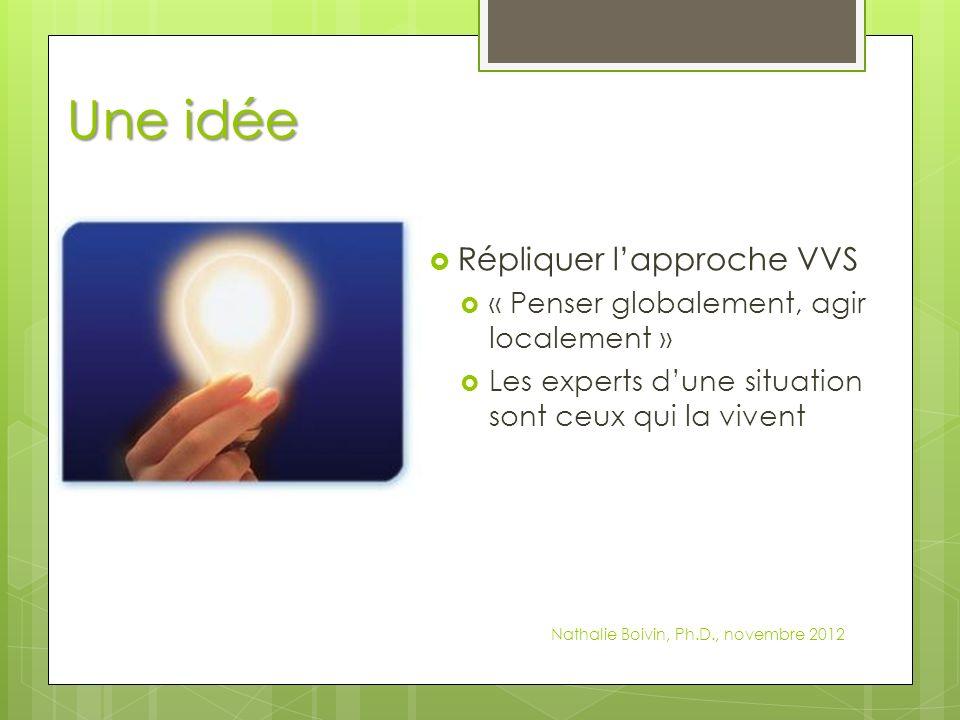 Une idée Répliquer lapproche VVS « Penser globalement, agir localement » Les experts dune situation sont ceux qui la vivent Nathalie Boivin, Ph.D., novembre 2012
