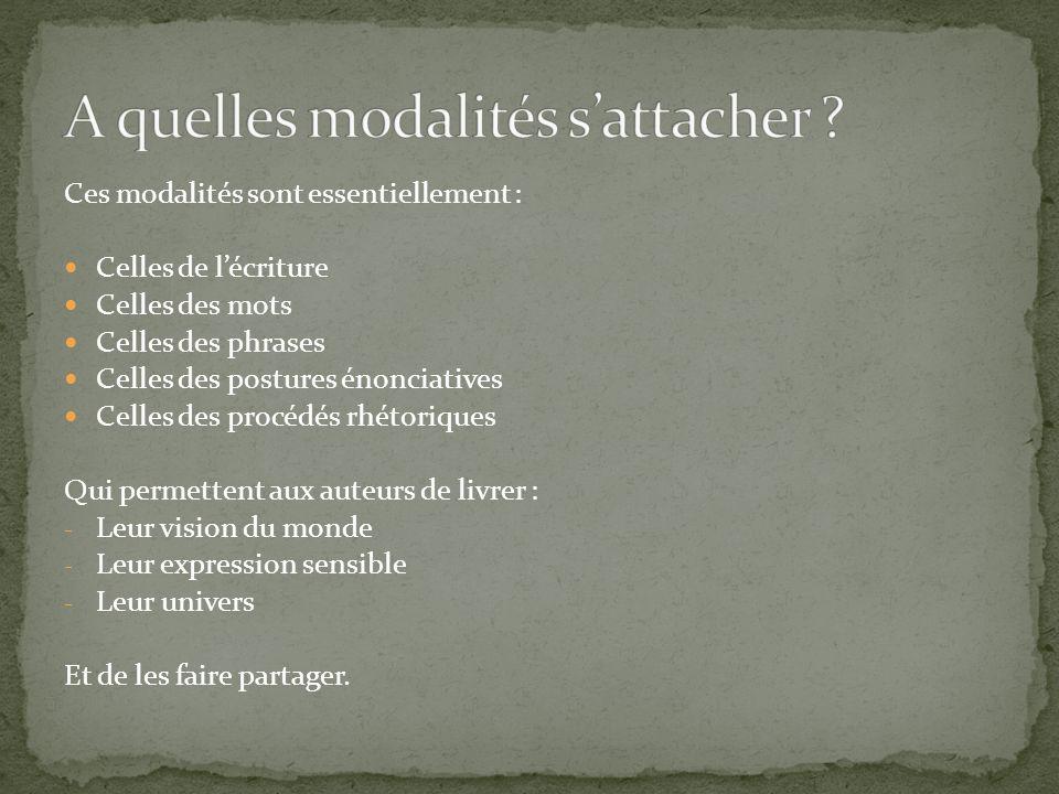Ces modalités sont essentiellement : Celles de lécriture Celles des mots Celles des phrases Celles des postures énonciatives Celles des procédés rhéto