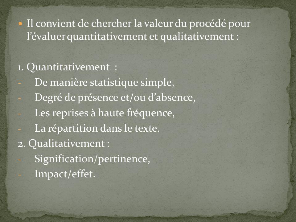 Il convient de chercher la valeur du procédé pour lévaluer quantitativement et qualitativement : 1. Quantitativement : - De manière statistique simple